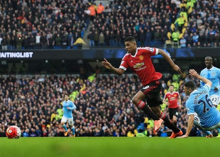 Маркус Рашфорд забил единственный гол в победном матче против «Сити» 20 марта 2016 года